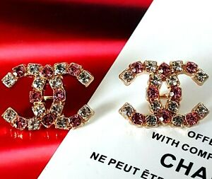"""10 STAMPED CHANEL STEEL PINK & CLEAR RHINE BUTTONS GOLD CC LOGO 19.7 mm 0.77"""""""
