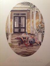 Trisha Romance Print Oval Vignette The Ice Cream Makers Father Children Porch