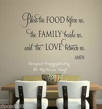 Bless the food Vinyl lettering wall  decal words home kitchen art sticker faith