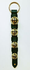 Bells & Sleigh Bells - Green Leather Bell Strap With Four Solid Brass Bells