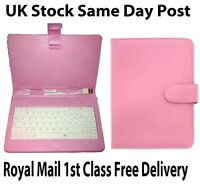 "7 "" Pink Leather Case Cover Keyboard Stylus with USB Wired for Android Tablet"