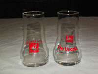 VINTAGE 1970S  2  7 UP THE UNCOLA RED SODA DRINKING GLASSES