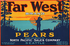 *Original* FAR WEST Hunter Woods Lake Seattle PACIFIC Pear Label NOT A COPY!!
