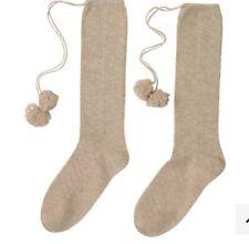 100% Cashmere Taupe Knee Length Pom Pom Socks By Laycuna London BNWT &  Tissue