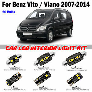 20 Bulbs Super White LED Interior Light Kit For Benz Viano W639 2007-2014 Lamps