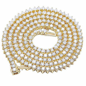 "Men's 10K Gold Over Martini 3 Prong Simulant Diamond Necklace Chain 12.5Ct 22"""