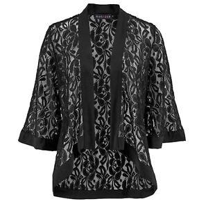Abend Transparent SPITZE Blazer EDEL Gr.36/38 Kimono JACKE SCHWARZ Jäckchen