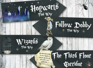 4 Harry Potter Hogwarts Wizards Chalkboard Effect Party Decoration Arrow Signs