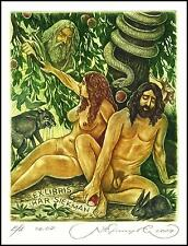 Kirnitskiy Sergey 2004 Exlibris C4 Adam and Eve Erotic Nude Wolf Hare Snake 94