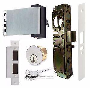 ADAMS RITE TYPE HD STOREFRONT DOOR DEADLATCH w/ PADDLE HANDLE & LOCK CYLINDER