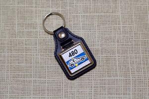 Volvo 480 Keyring - Leatherette & Chrome Keytag
