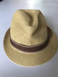 GOORIN BROS Straw Fedora Trilby Boater Panama Hat Size With Tan Band M NEW