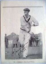 BILL O'REILLY AUSTRALIA 1932-46, 27 TESTS AUTOGRAPHED B&W CRICKET PICTURE