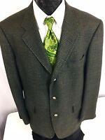 JOS A BANK Black Green TWEED Sport Coat Brown OVERCHECK Jacket Wool Blazer 44 L