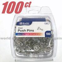 100 ct CLEAR PUSH PINS Bulettin Board Transparent Thumb Tacks Steel Point C083