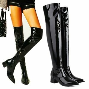 Punk Party Women Patent Leather Pointed Toe Thigh Boots Over the Knee Oxfords