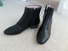 """Ladies black leather ankle boots with 1"""" studded heel H&M size 4 UK (37 EU) NEW"""