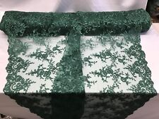 Lace Fabric - Bridal Flower/Floral Embroidered Mesh Green Wedding By The Yard