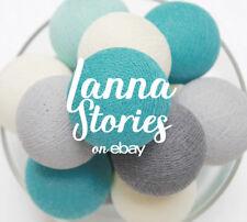 20 Cotton Ball String Lights for Bedroom Fairy Nursery White Light Grey Mint