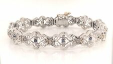 18K White Gold 7.5 inch Vintage Open Work Bracelet with Sapphires