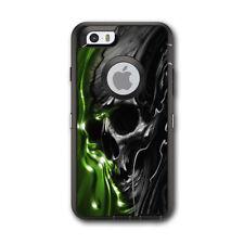 Skin Decal for Otterbox Defender iPhone 6 Case / Dark Skull, Skeleton Neon Green