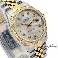 Rolex Datejust Mens Two-Tone White Mother of Pearl Diamond Dial and Bezel Watch