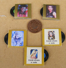 1:12 Scale Set Of 5 Non Playing Mixed Records & Sleeves Dolls House Miniature