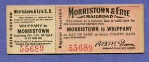 CIRCA 1910 FULL RAILROAD TICKET MORRISTOWN & ERIE RR TO WHIPPANY NJ NEW JERSEY
