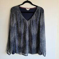 Women's Boden Long Sleeve Blue With Blue Polka Dots Top Blouse sz 14