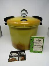 VINTAGE PRESTO 21QT PRESSURE COOKER PRESSURE CANNER HARVEST GOLD + BOOK NICE CON
