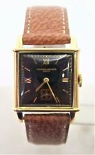 Vintage 18k Gold VACHERON CONSTANTIN Mens Winding Watch Black Dial Cal 458 EXLNT