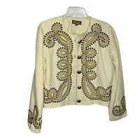 Double D Ranch Western Studded Cotton Blazer Jacket Womens Sz Medium Beige