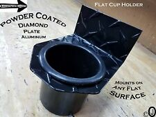 Flat Cup holder powder Coat Diamond plate fits jeeps-golf carts-boats-atv-trucks