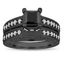 Princess Enhanced Black Diamond Engagement Ring Wedding Band Sets 14K Black Gold