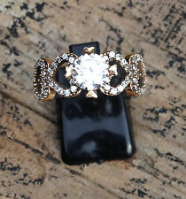 Lady's 925 Sterling Silver & Bronze WHITE TOPAZ TURKISH Ring Size:8.5