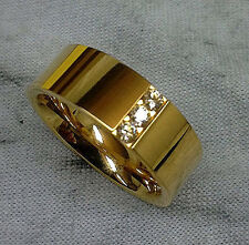 TITANIUM Gold Plated RING with Three CZ Accent Stones in sizes 6, 7, 8, 9