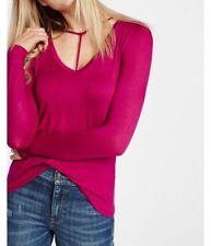 EXPRESS Medium ONE ELEVEN FUCHSIA PINK LONG SLEEVE CHOKER TEE Shirt top v-neck M