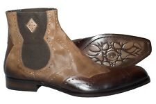 Jo Ghost 1099 Italian mens beige/brown Chelsea style  leather boots with design