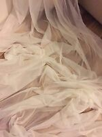 """5 MTR SOFT IVORY TULLE STUDDED BRIDAL/DECORATION NET FABRIC..45"""" WIDE (NEW)"""