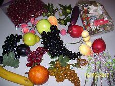 LOT OF FAKE FRUITS, FLOWER PICKS, POTPOURRI, WOODEN CHERRIES, BANANAS, GRAPES FS