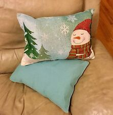 Snow Man/Snow Fall Holiday Christmas Decor Tapestry Pillow Oblong