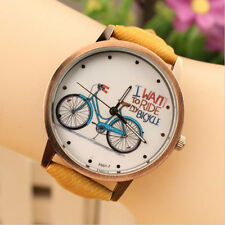 BOYS MEN WOMEN New Fashion Casual Cute Cartoon Bike Leather Quartz Wrist Watch
