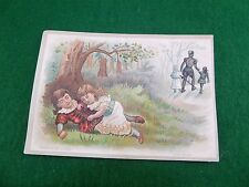 "Victorian Card ""Babes in the Woods"" Knight Sword Children Girl's Dream, Nice"