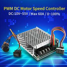 60A DC10-55V 12V 24V 48V PWM Motor Speed Controller CW CCW Reversible Switch inm