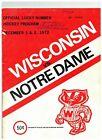 1972 Wisconsin Badgers vs Notre Dame Vintage Hockey Program READ DESCRIPTION(JS)