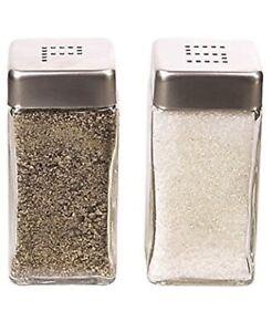 Grant Howard Modern Square 4 Ounce Glass Salt and Pepper Shaker Set