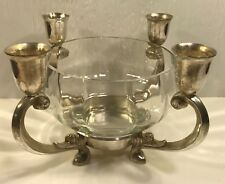 Towle Silverplate Candle Holder Clear Glass Flower Bowl Centerpiece