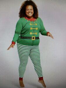 Women's Plus Size Holiday Elf Matching Family Pajama Set Size 1X - NWT