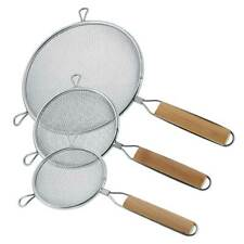 """U.S. Kitchen Supply 3 Fine Double Mesh Stainless Steel Strainers 4.5"""", 5.5"""" & 8"""""""