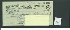wbc. - CHEQUE - CH719 -  USED -1969 - BARCLAYS, GOLDERS GREEN, LONDON NW11